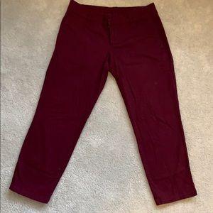 Burgundy Cropped Pants